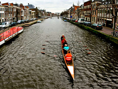 Rowing through leiden holland
