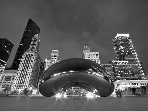 Chicagos cloud gate and skyline