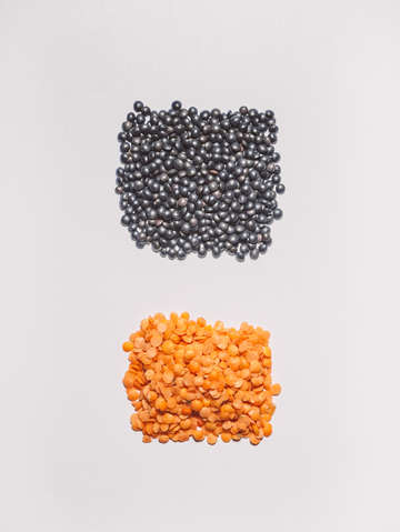 Red and black lentils