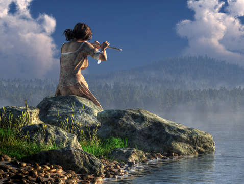 Flutist on the lake