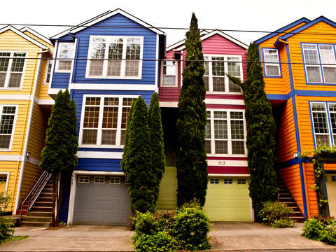 Colorful Rowhomes In Portland