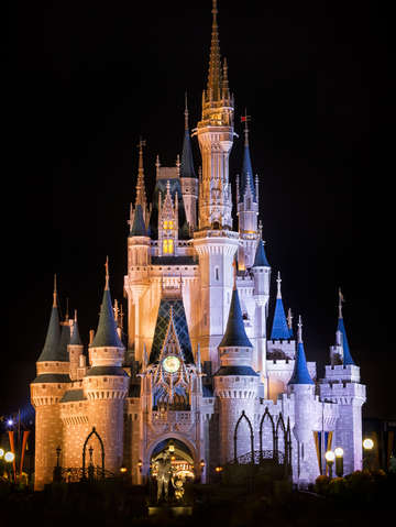 Cinderellas castle and partners statue at night