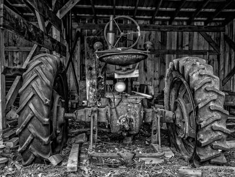 Old tractor in the barn
