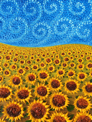 Windy sky with sunflowers