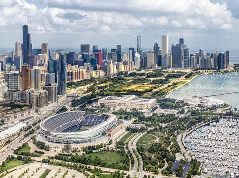 Soldier field and chicago skyline