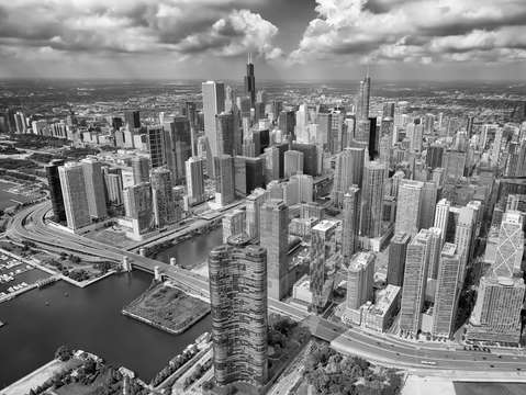 Downtown chicago aerial black and white