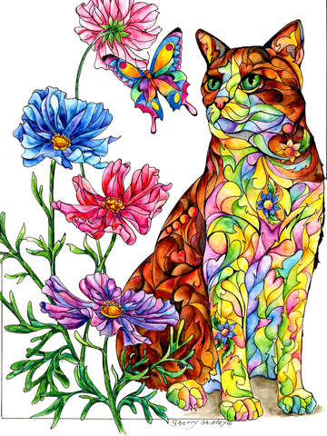 Summer cat with butterfly