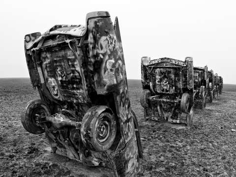 Cadillac ranch bw 2