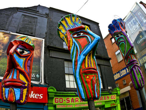 Colorful heads in dublin