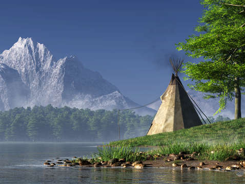 Teepee by a lake