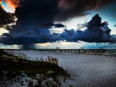 Storm clouds over perdido pass and 4 seasons pier