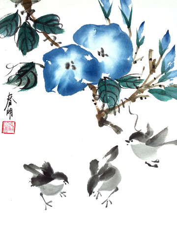 Birds and morning glories