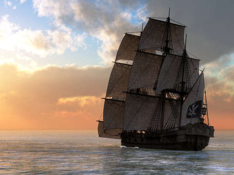 Pirate Ship Sunset