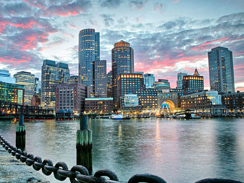 Boston skyline from fort point