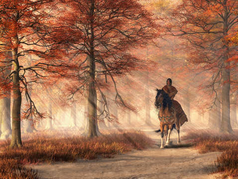 Riding on the autumn trail