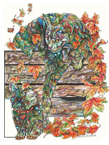 Fall Cats with Leaves