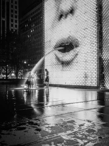 Crown fountain fun