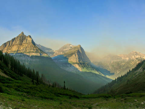 Morning sun over glacier national park
