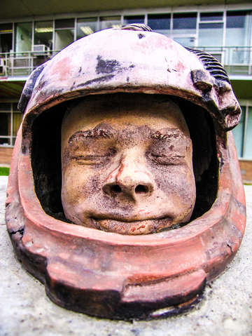 Helmet head sculpture