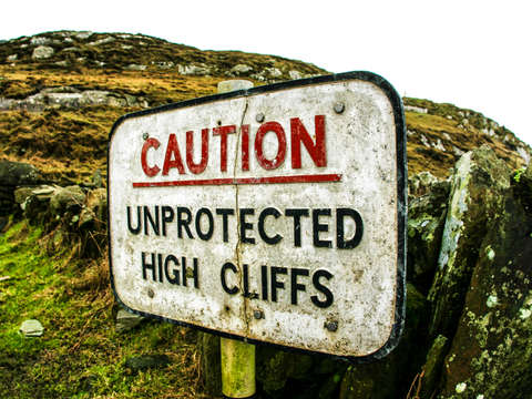 Unprotected high cliffs