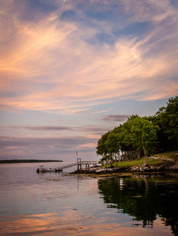 Pink sunset in maine