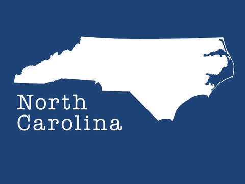 North carolina state in marine blue