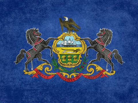 State flag of pennsylvania vintage retro style