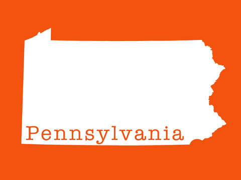 Pennsylvania state in orange