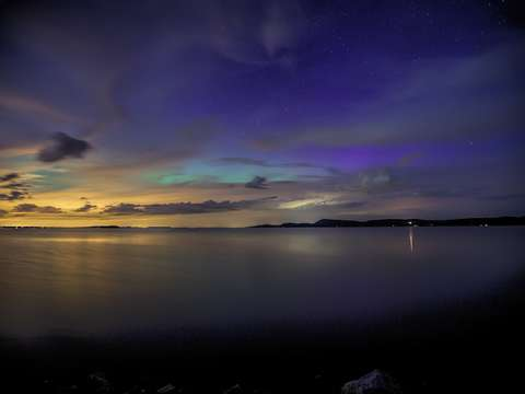 Violet blue light aurora