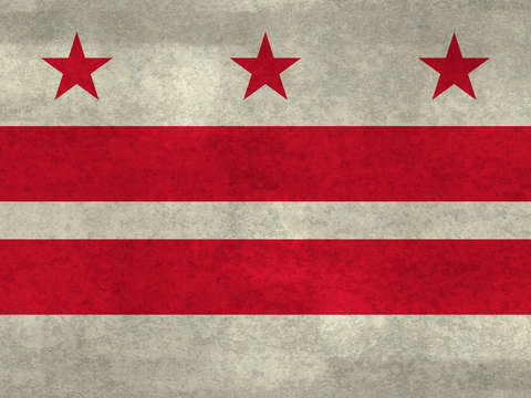 Washington dc flag with worn stone marbled patina
