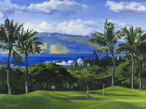 Two guys on the green at wailea emerald course mau
