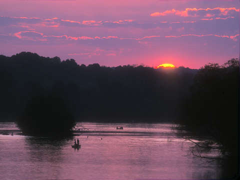 Chattahoochee river and fishermen