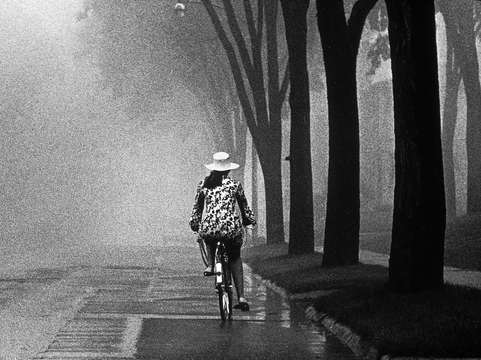 Bike rider on foggy day 69010101
