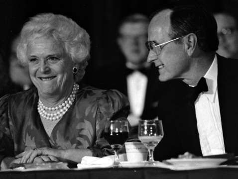 Mrs bush with president george h bush
