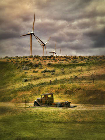 Old truck windmills