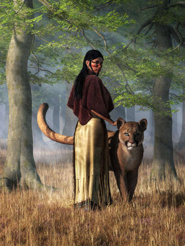 Native american woman and panther