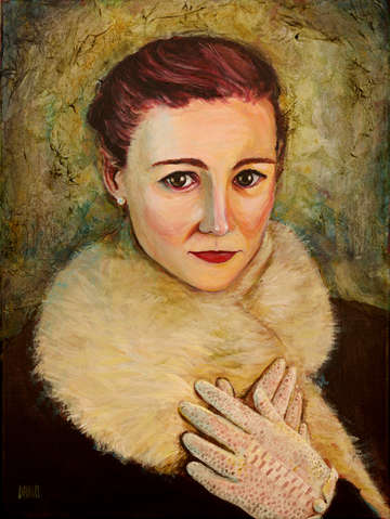 Woman in fur and lace gloves