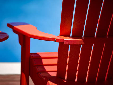 Kickin' back in the red chair