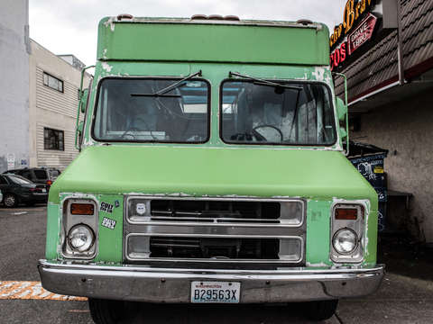 Lime green food truck