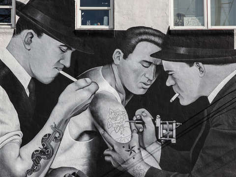 Tattoo parlor mural