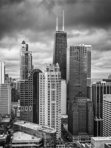 Streeterville From Above Black and White