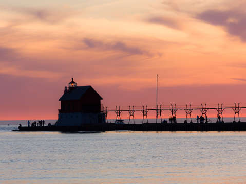 Pastel Sunset over Grand Haven Lighthouse