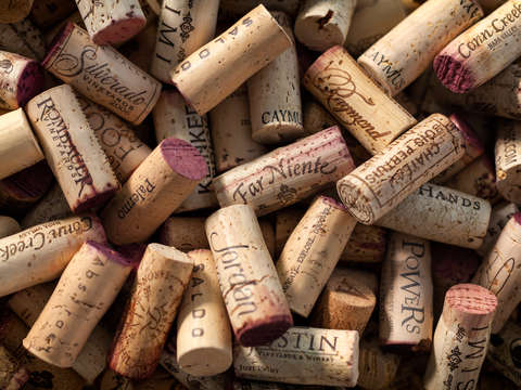 Collection of fine wine corks