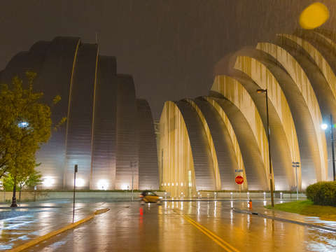 Kauffman performing arts center in rain