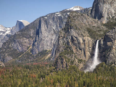 Half dome with waterfall
