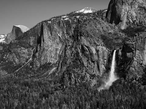 Half dome with waterfall bw