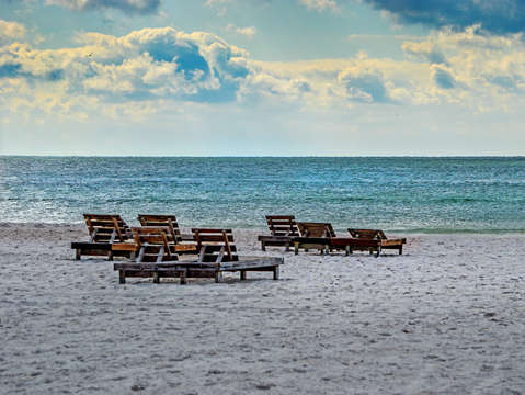 Group of chairs on the beach