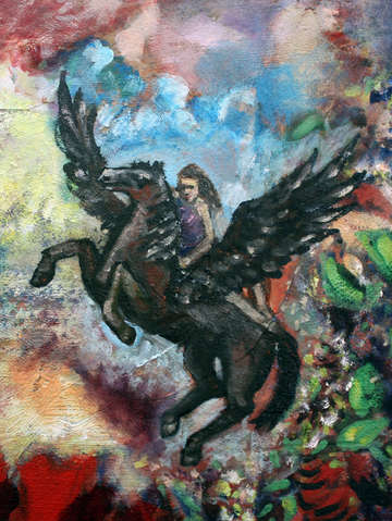 Girl riding pegasus after redon