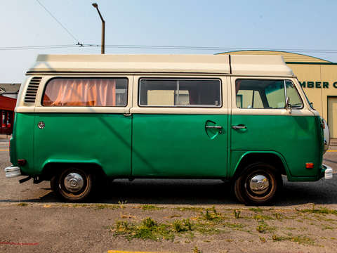 Green and white volkswagen van