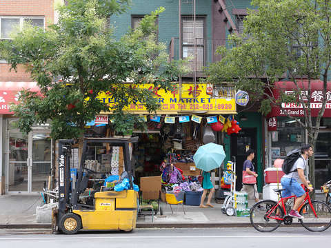 Biking through the lower east side manhattan